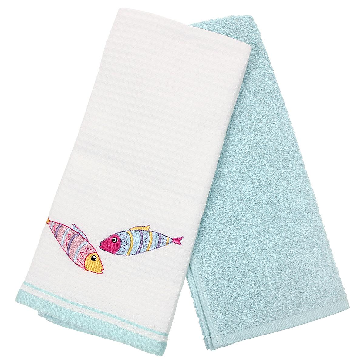 Набор кухонных полотенец Coronet Рыбки, цвет: белый, бирюзовый, 40 см х 60 см, 2 штК-МП-5010-05-01-03