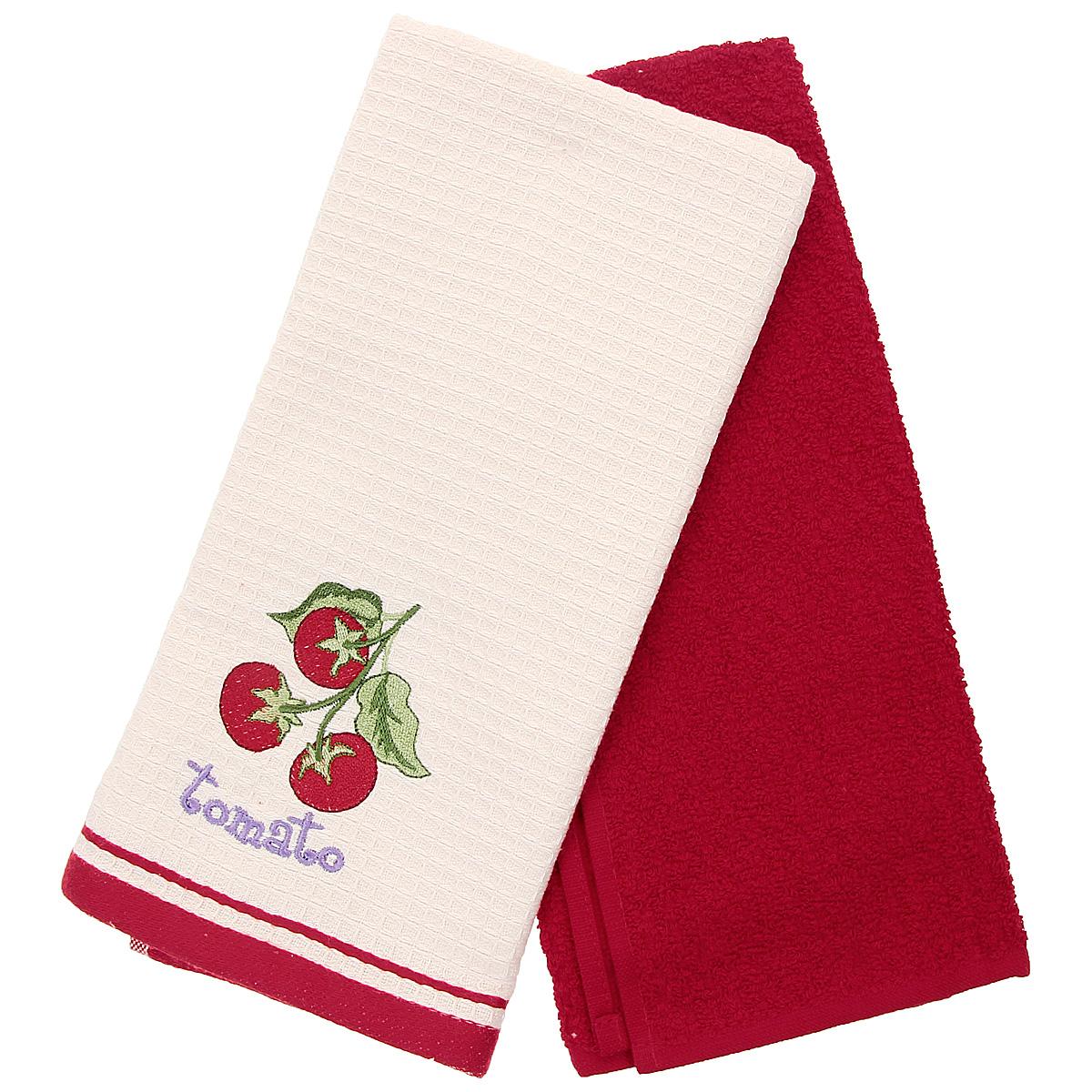 Набор кухонных полотенец Coronet Томаты, цвет: красный, бежевый, 40 см х 60 см, 2 штК-МП-5010-05-11-01Набор Coronet Томаты состоит из двух прямоугольных полотенец: вафельного полотенца бежевого цвета с вышивкой в виде томатов и махрового полотенца красного цвета. Высочайшее качество материала гарантирует безопасность не только взрослых, но и самых маленьких членов семьи. Кухонные полотенца Coronet практичны и долговечны. Прекрасно впитывают влагу. Эти свойства изделия из натурального хлопка не теряют на протяжении многих лет. Хлопчатобумажные изделия выдерживают многочисленные стирки при высоких температурах. Такой набор идеально дополнит интерьер вашей кухни и создаст атмосферу уюта и комфорта. Coronet предлагает коллекции готовых стилистических решений для различной кухонной мебели, множество видов, рисунков и цветов. Вам легко будет создать нужную атмосферу на кухне и в столовой. Рекомендации по уходу: - стирать при температуре 40°С, - чистка с использованием углеводорода, хлорного этилена, монофлотрихлометана, - нельзя отбеливать, ...