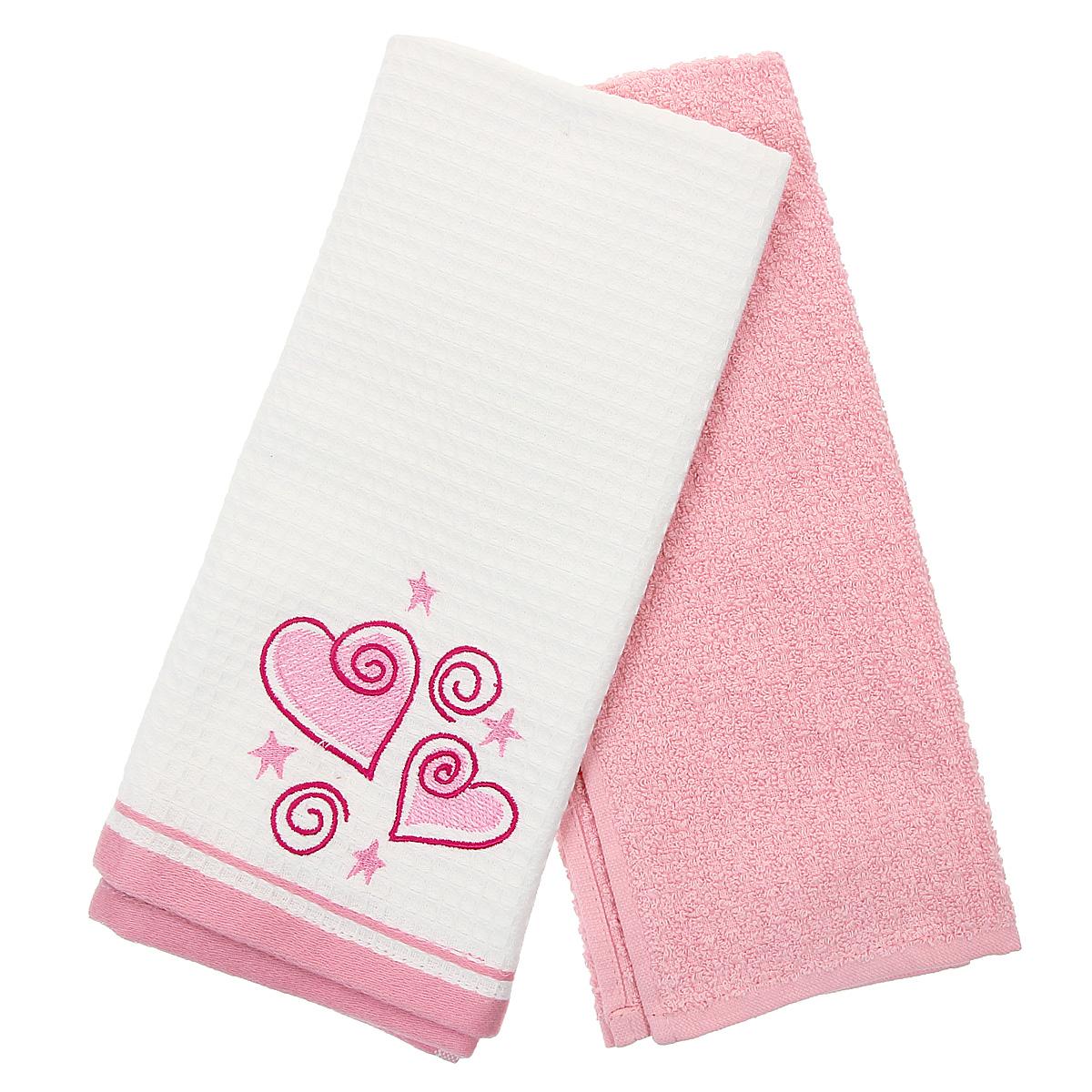 Набор кухонных полотенец Coronet Сердечки, цвет: белый, розовый, 40 см х 60 см, 2 штК-МП-5010-05-02-03