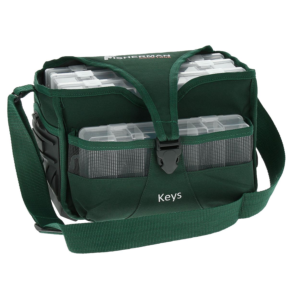 Сумка для рыбалки Fishernan Nova Tour Кейс, цвет: зеленый95133-502-00Рыбацкая сумка Fishernan Nova Tour Кейс для любителей порядка. Все аккуратно сложено и упаковано, и в то же время, все под рукой. Вместительное основное отделение прямоугольной формы, сетчатый боковой карман, 4 пластиковых и усиленное дно, которое позволит оставлять сумку на земле - что еще нужно для хорошей сумки рыболова.