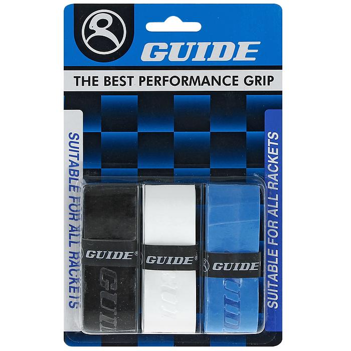 Обмотка для ракетки Guide Replacement Grip, цвет: черный, белый, синий, 3 шт363 #HC-JB black-wh-blueОбмотка Guide имеет среднюю толщину, отлично впитывает влагу, а также наделена противоскользящим свойством. Она не уступает по качеству продукции компании Yonex, опережая по показателям другие мировые бренды.