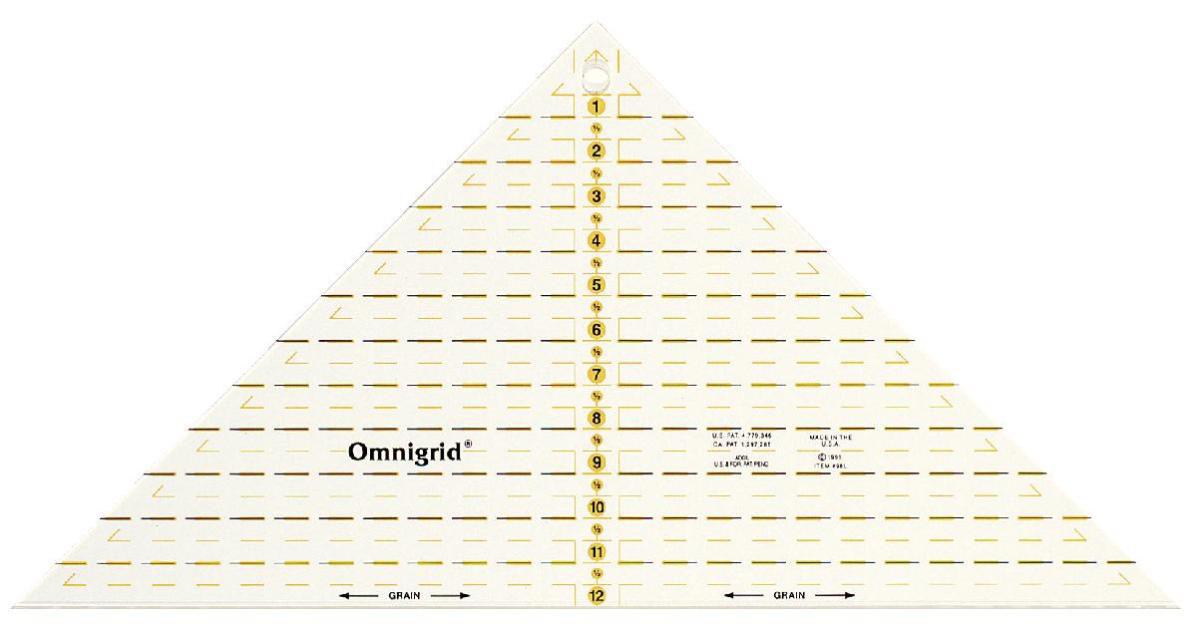Треугольник Prym Omnigrid, с дюймовой шкалой, для 1/4 квадрата до 12 дюймов611483Проворный треугольник Prym Omnigrid с дюймовой шкалой выполнен из высококачественного прозрачного пластика. Разметки на линейке выполнены высокостойкой краской. Треугольник предназначен для пэчворка и шитья. Линейка обеспечивает точность при раскрое различных форм изделий: квадратов, полосочек, треугольников.