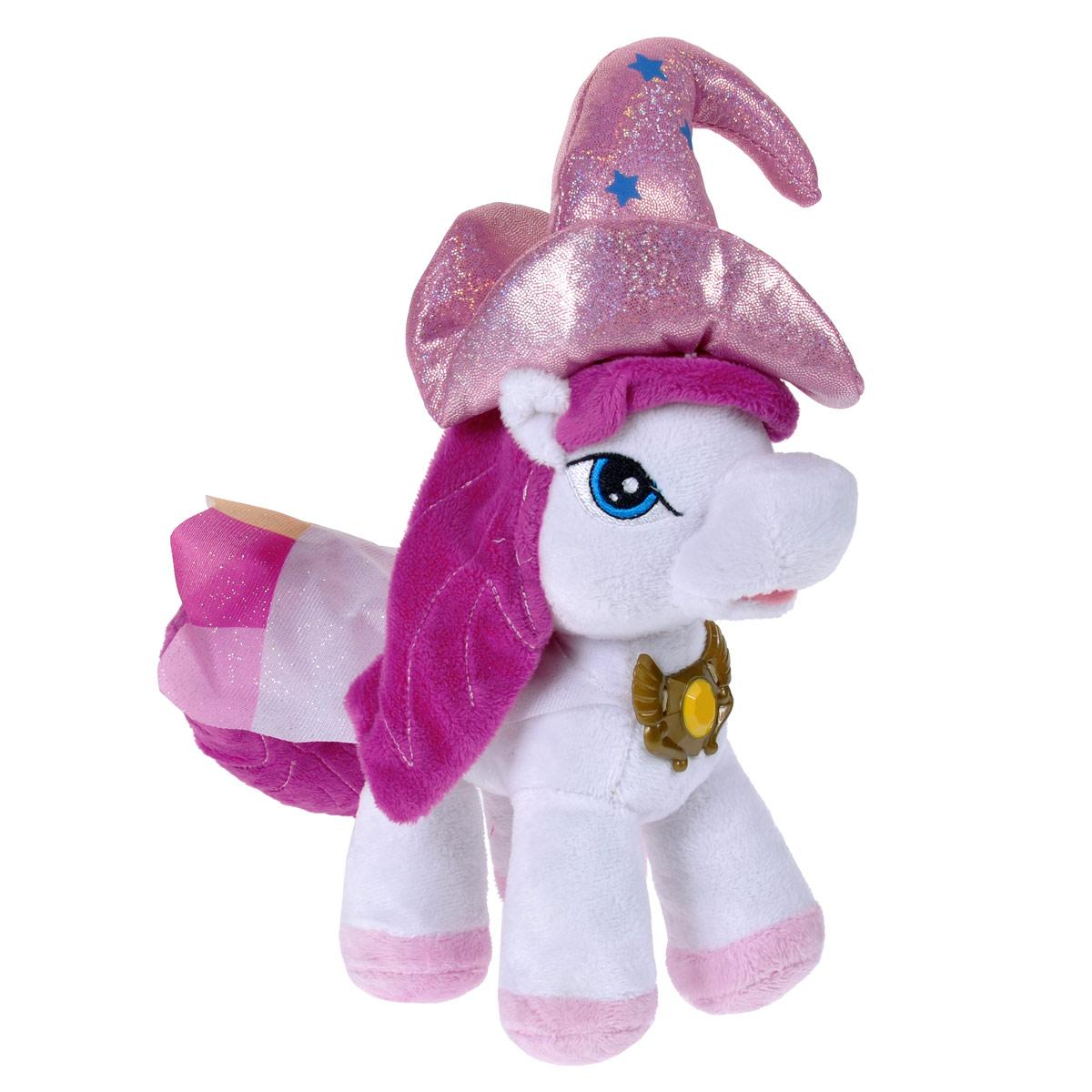 Мягкая игрушка Filly Лошадка Ведьма Абра, 25 см13-20Мягкая игрушка Filly Лошадка Ведьма Абра непременно понравится вашей малышке. Она выполнена из приятного на ощупь текстильного материала цвета в виде лошадки Филли - Ведьмы Абры. У лошадки вышиты глазки, одета она в белый плащ с разноцветными вставками и пластиковой заколкой, на голове - розовая остроконечная шляпа с блестками. Игрушка подарит своему обладателю хорошее настроение и принесет много радости. Порадуйте своего ребенка таким замечательным подарком!