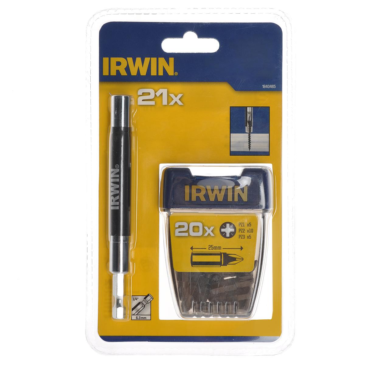 Набор бит с магнитным держателем Irwin, 1/4, 21 предмет1840465Набор бит с магнитным держателем Irwin предназначен для монтажа/демонтажа резьбовых соединений. Магнитный держатель имеет пружину для удобства закручивания шурупов. В набор входят биты крестовые РZ1 - 5 шт, РZ2 - 10 шт, РZ3 - 5 шт, магнитный держатель 1/4 длиной 12 см.