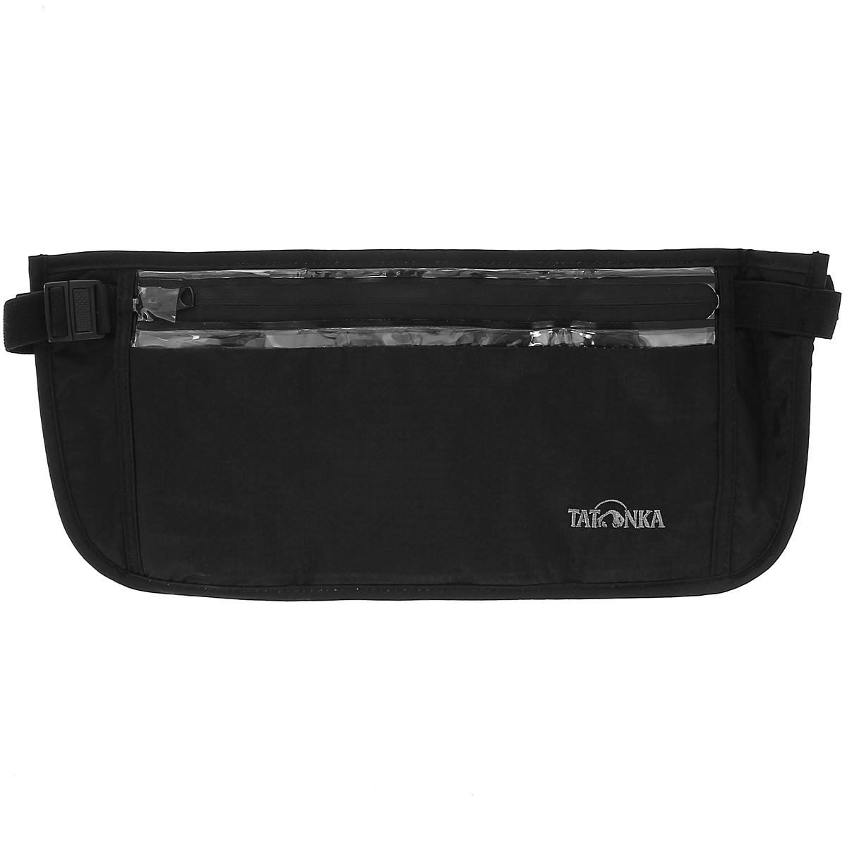 Кошелек на пояс Tatonka Skin Security Pocket, потайной, цвет: черный2857.040Большой вместительный кошелек для скрытого ношения на поясе Tatonka Skin Security Pocket подойдет не только для хранения денег, но и для сохранности документов и других ценных предметов. Он крепится на пояс при помощи эластичного ремня, длина которого регулируется. Изделие имеет одно вместительное отделение на водонепроницаемой застежке-молнии. Кошелек с обратной стороны выполнен из приятного для кожи мягкого материала, не вызывающего аллергию, внутри обтянут водонепроницаемой пленкой. Материал: 210T Nylon Rip Stop. Очень легкий материал RipStop нейлон (210 Den полиамид) с красивой и приятной на ощупь поверхностью, очень прочный. Изнутри покрыт полиуретаном с водостоойкостью 2000 мм. Нитка 210 денье (сокращено: Den) создает прочность на разрыв.