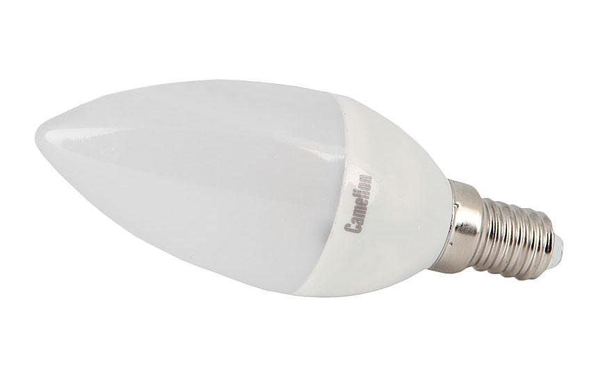 Camelion LED4.5-C35/845/E14 светодиодная лампа, 4,5ВтLED4.5-C35/845/E14Светодиодная рефлекторная лампа Camelion применяется для замены энергосберегающей лампы или лампы накаливания в точечных и направленных источниках света. При этом она сэкономит ваши деньги за счет минимального потребления электроэнергии и долгого срока службы. Так же эта лампа обладает высоким индексом цветопередачи и не мерцает, что делает ее свет комфортным для глаз. Нагрев LED лампы минимален, что позволяет использовать ее в натяжных потолках и других конструкциях, требовательных к температурному режиму. А когда она все-таки перегорит, не нужно задумываться о ее переработке, так как при производстве светодиодных ламп не используются вредные вещества, в том числе ртуть.