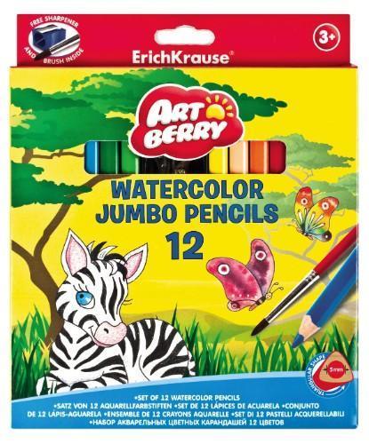 Карандаши Artberry 12цв акварельные треугольные Jumbo с точилкой и кисточкой256800Цветные карандаши Erich Krause Art Berry - идеальный инструмент для самовыражения и развития маленького художника! В набор входят 12 коротких цветных карандашей и точилка. Корпус изготовлен из древесины, гладкость которой обеспечена многослойной покраской. Эргономичная треугольная форма позволяет правильно держать карандаш. Ребенок легко рисует без усталости и напряжения. Грифели не крошатся при рисовании, при падении не трескаются. Карандаши обладают яркими насыщенными цветами. Они уже заточены, поэтому все, что нужно для рисования - это взять чистый лист бумаги, и можно начинать! Карандаши упакованы в фирменную коробку с европодвесом.