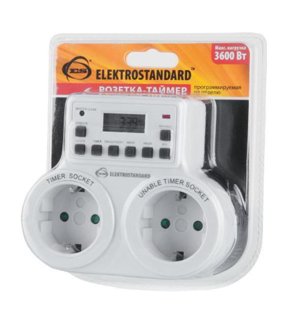 Розетка Elektrostandard MH-E-5, двойнаяa026138Модель Электростандарт TMH-E-5 имеет две розетки, одна из которых оснащена электронным таймером, программируемым на неделю с точностью до минуты. Особенности: Защита от детей; Двойная розетка; Встроенный аккумулятор; Функция летнего времени; Функция произвольного включения; Индикатор работы розетки-таймер; Пылевлагозащищенность: IP20; Рабочая температура: -10° ... +40° С; Минимальный временной интервал: 1 мин; Количество программ: 10; Каждая программа предусматривает 1 цикл включения/выключения.