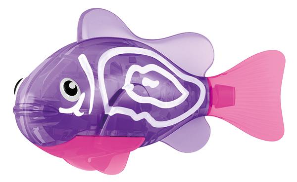 Игрушка для ванны Robofish Тропическая РобоРыбка: Хромис, цвет: фиолетовый, розовый2549-1Игрушка для ванны Robofish Тропическая РобоРыбка понравится вашему малышу и превратит купание в веселую игру. Она выполнена из безопасного пластика с элементами металла в виде маленькой красочной рыбки. При погружении в ванну, аквариум или другую емкостью с водой РобоРыбка начинает плавать, опускаясь ко дну и поднимаясь к поверхности воды. Игрушка прекрасно имитирует повадки настоящей рыбы. Траектория ее движения зависит от наклона хвоста. Внутри рыбки находится специальный грузик, регулирующий глубину ее погружения. Если рыбка плавает на дне, не всплывая, - уберите грузик; если на поверхности - добавьте грузик. Набор включает подставку, на которой можно разместить рыбку, пока вы с ней не играете. Порадуйте вашего ребенка таким замечательным подарком! Игрушка работает от 2 батарей напряжением 1,5V типа LR44 (2 установлены в игрушку и 2 запасные).