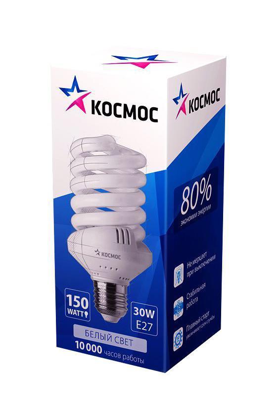 Лампа энергосберегающая Космос, свет: холодный. Модель Т3 SPC 30W E2742LKsmSPC30wE2742Энергосберегающая лампа Космос холодного света способствует зрительному и психоэмоциональному комфорту, ее лучше использовать в гостиных, местах приема гостей, кухнях. Такая лампочка при аналогичных размерах позволяет заменить большинство галогенных ламп и ламп направленного света, при более низком энергопотреблении по сравнению с галогенными и обычными лампами накаливания. Не содержит паров ртути, так как используется технология амальгамной дозировки. Ртуть находится в связанном состоянии. Лампа обладает высоким индексом цветопередачи, это означает, что все цвета объектов, освещаемые такой лампой, выглядят естественно и натурально. Применение PTC-термистра с положительным коэффициентом температуры позволяет осуществлять плавный старт лампы, что увеличивает срок службы лампы, позволяя производить до 500 000 включений-выключений.