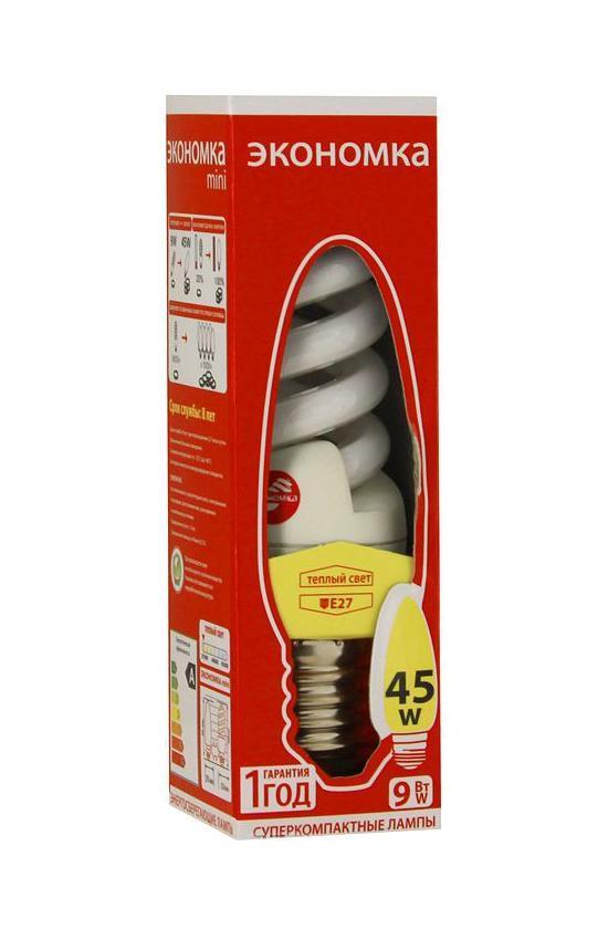 Лампа энергосберегающая Экономка, свет: теплый. Модель Т2 SPC 9W E2727LKsmT2SPC9wE2727ecoСфера применения энергосберегающей лампы Экономка та же, что и у ламп накаливания, но энергосберегающая лампа имеет ряд преимуществ: температура колбы ниже, чем у лампы накаливания, что позволяет использовать энергосберегающую лампу в тканевых абажурах без риска выцветания и возникновения пожара; различный спектральный состав по-разному влияет на настроение человека.