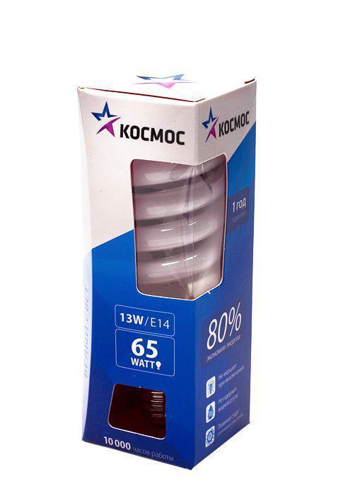 Лампа энергосберегающая Космос, свет: холодный. Модель Т2 SPC 13W E1442LKsmT2SPC13wE1442Энергосберегающая лампа Космос холодного света способствует зрительному и психоэмоциональному комфорту, ее лучше использовать в гостиных, местах приема гостей, кухнях. Такая лампочка при аналогичных размерах позволяет заменить большинство галогенных ламп и ламп направленного света, при более низком энергопотреблении по сравнению с галогенными и обычными лампами накаливания. Не содержит паров ртути, так как используется технология амальгамной дозировки. Ртуть находится в связанном состоянии. Лампа обладает высоким индексом цветопередачи, это означает, что все цвета объектов, освещаемые такой лампой, выглядят естественно и натурально. Применение PTC-термистра с положительным коэффициентом температуры позволяет осуществлять плавный старт лампы, что увеличивает срок службы лампы, позволяя производить до 500 000 включений-выключений. Характеристики: Модель: Т2 SPC 13W E1442. Материал: стекло, металл, пластик. Диаметр колбы (по верхнему краю): 3 см. Общая...