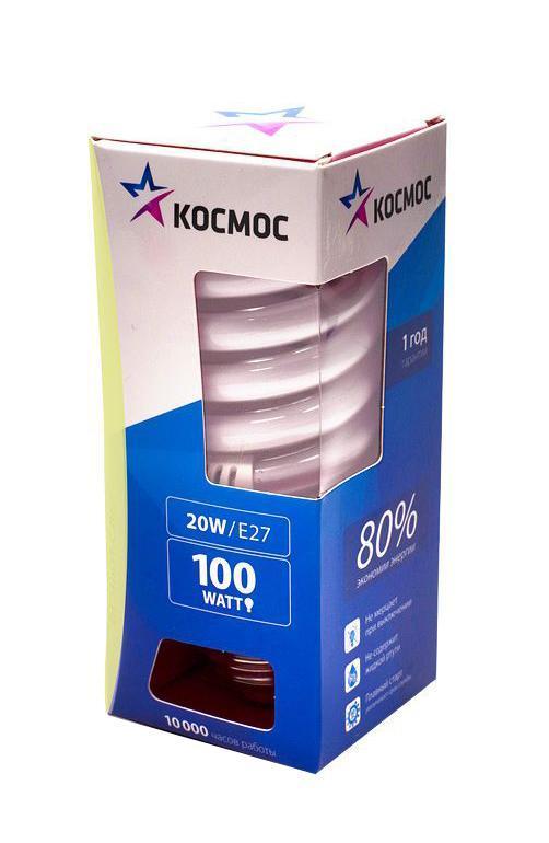 """Лампа энергосберегающая """"Космос"""", свет: теплый. Модель Т2 SPC 20W E2727"""