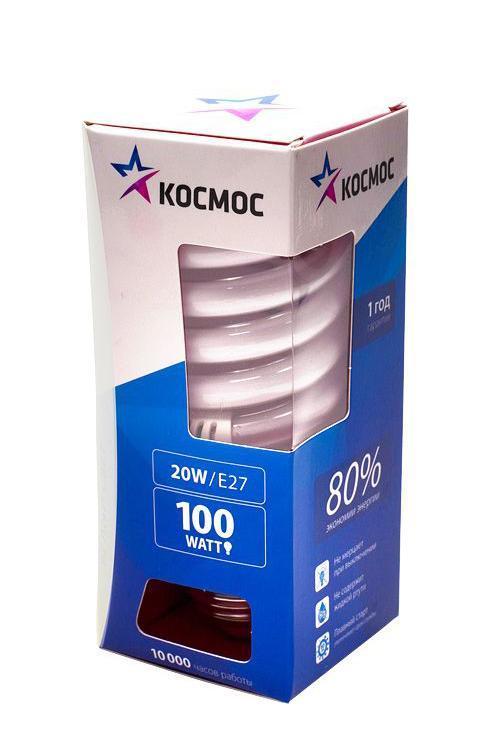 Лампа энергосберегающая Космос, свет: холодный. Модель Т3 SPC 20W E2742LKsmT2SPC20wE2742Энергосберегающая лампа Космос холодного света способствует зрительному и психоэмоциональному комфорту, ее лучше использовать в гостиных, местах приема гостей, кухнях. Такая лампочка при аналогичных размерах позволяет заменить большинство галогенных ламп и ламп направленного света, при более низком энергопотреблении по сравнению с галогенными и обычными лампами накаливания. Не содержит паров ртути, так как используется технология амальгамной дозировки. Ртуть находится в связанном состоянии. Лампа обладает высоким индексом цветопередачи, это означает, что все цвета объектов, освещаемые такой лампой, выглядят естественно и натурально. Применение PTC-термистра с положительным коэффициентом температуры позволяет осуществлять плавный старт лампы, что увеличивает срок службы лампы, позволяя производить до 500 000 включений-выключений. Характеристики: Модель: Т3 SPC 20W E2742. Материал: стекло, металл, пластик. Диаметр колбы (по верхнему краю): 4,5 см. ...