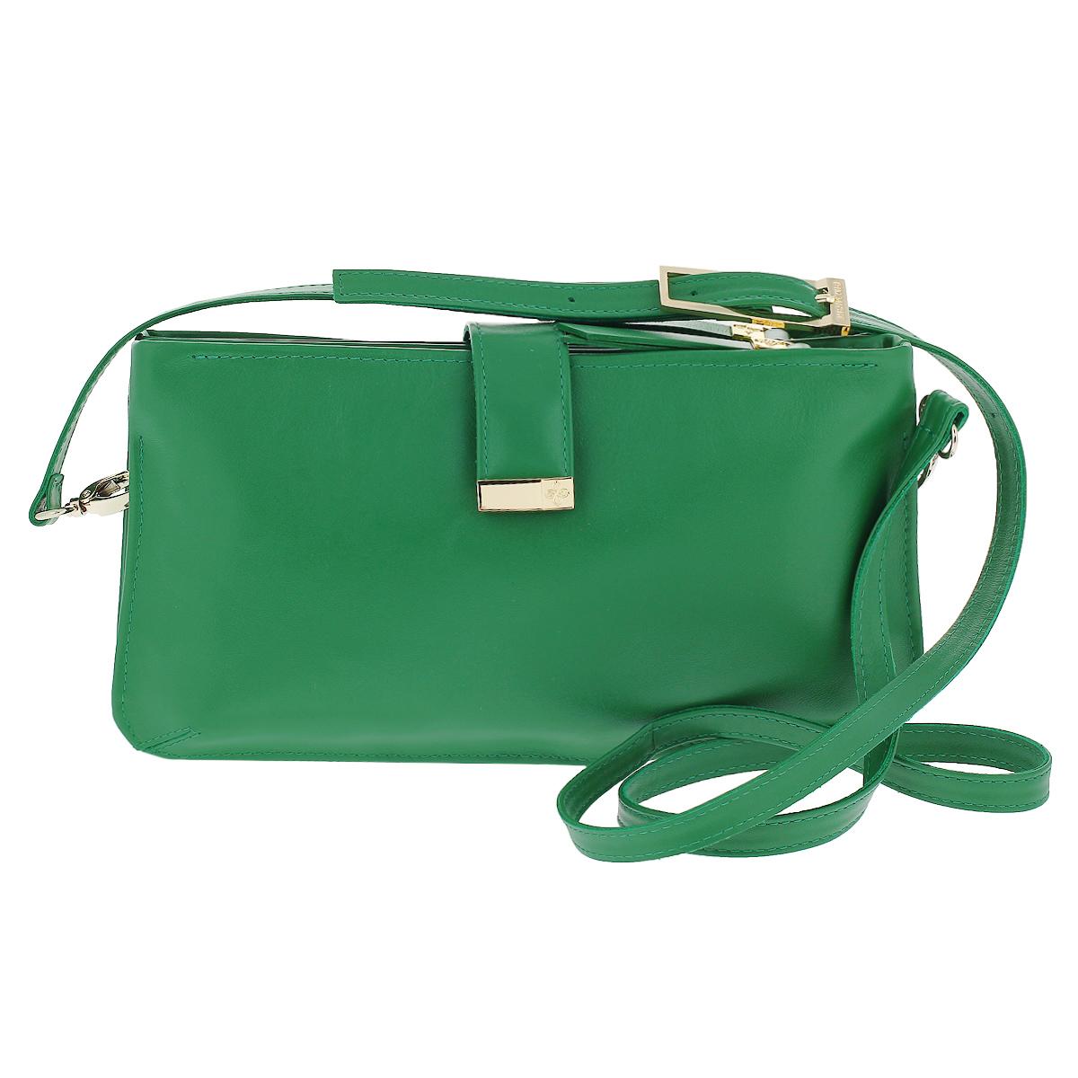 Сумка-клатч женская Dimanche Bowling Bag, цвет: зеленый. 435/26/R435/26/RСтильная женская сумка-клатч Dimanche Bowling Bag выполнена из натуральной высококачественной кожи, закрывается хлястиком на кнопке-магните. Сумка состоит из трех отделений: два из которых на застежках-молниях, и отделение без молнии. Внутри отделений на застежках-молниях - по одному дополнительному кармашку. Сумка оснащена удобным плечевым ремнем регулируемой длины. Сумка упакована в фирменный текстильный мешок. Женская сумка от Dimanche подчеркнет вашу яркую индивидуальность и сделает образ завершенным.