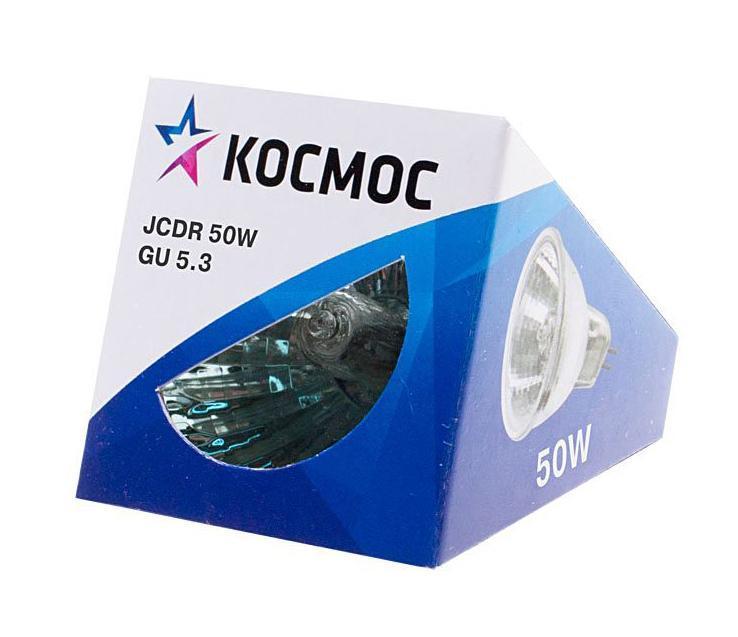 Лампа галогенная Космос. Модель JCDR 50W 230V GU5.3LKsmJCDR220V50WГалогенная лампа Космос выполнена с отражателем и защитным стеклом, которое обеспечивает безопасность эксплуатации лампы, предохраняя внутреннюю капсулу и отражатель от попадания пыли. Колба лампы изготовлена из кварцевого стекла с добавками, экранирующими УФ-излучение. Особенности галогенной лампы Космос стабильный и ровный световой поток на протяжении всего срока службы яркий белый свет, его четкая направленность компактный размер высокий коэффициент цветопередачи срок службы в 2 раза дольше, чем у обычной лампы накаливания стекло защищает от ультрафиолетового излучения.