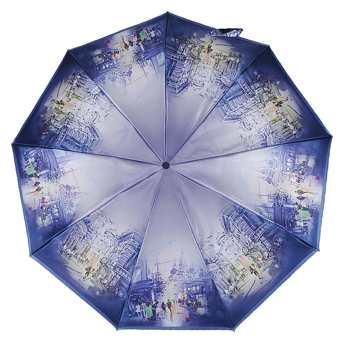 Зонт женский Zest, автомат, 3 сложения. 239444-25239444-25Женский автоматический зонт Zest в 3 сложения даже в ненастную погоду позволит вам оставаться стильной и элегантной. Каркас зонта состоит из 8 спиц из фибергласса и прочного алюминиевого стержня. Специальная система Windproof защищает его от поломок во время сильных порывов ветра. Купол зонта выполнен из прочного полиэстера с водоотталкивающей пропиткой и оформлен оригинальным изображением. Используемые высококачественные красители, а также покрытие Teflon обеспечивают длительное сохранение свойств ткани купола. Рукоятка, разработанная с учетом требований эргономики, выполнена из приятного на ощупь прорезиненного пластика. Зонт имеет полный автоматический механизм сложения: купол открывается и закрывается нажатием кнопки на рукоятке, стержень складывается вручную до характерного щелчка, благодаря чему открыть и закрыть зонт можно одной рукой, что чрезвычайно удобно при входе в транспорт или помещение. На рукоятке для удобства есть небольшой шнурок, позволяющий надеть...