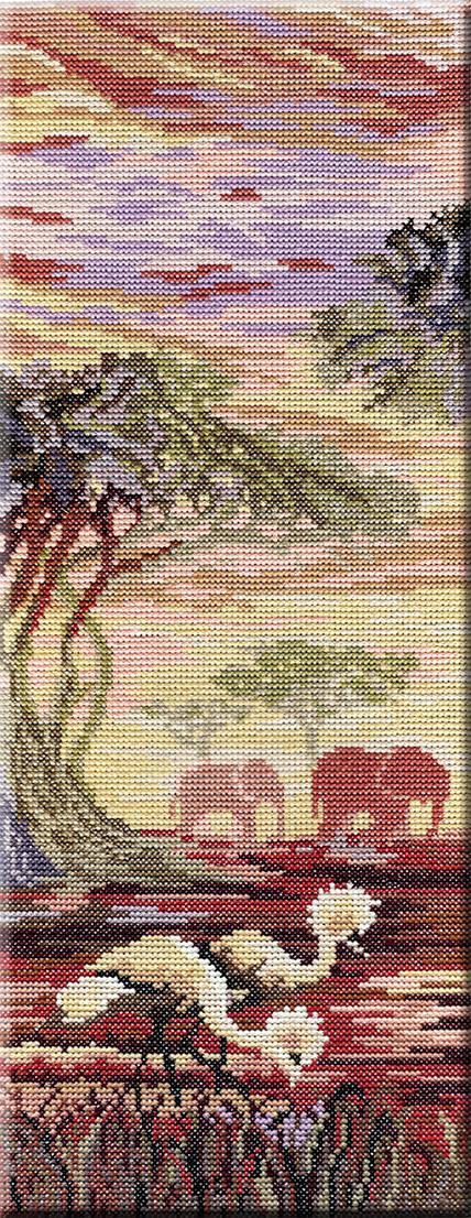 Набор для вышивания крестом М.П.Студия Триптих. Слоны, 1 часть, 38 х 15 см НВ-194277122