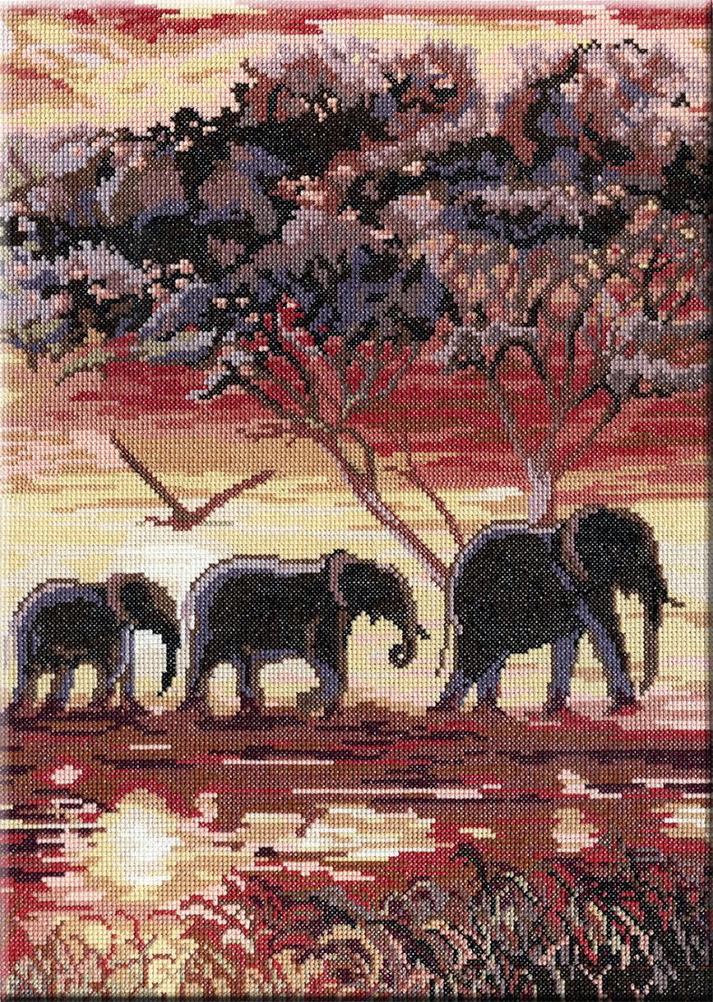Набор для вышивания крестом М.П.Студия Триптих. Слоны, 2 часть, 38 см х 28 см. НВ-195277123