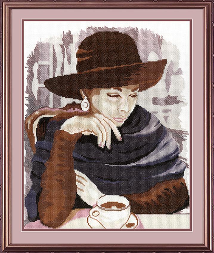 Набор для вышивания крестом М.П.Студия Девушка в кафе, 35 х 28 см НВ-200277128