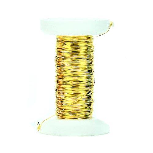Проволока декоративная Hobby Time, цвет: золотой, 0,25 мм х 35 м318018Проволоку Glorex можно использовать для создания различных изделий бижутерии, для декора фотоальбомов, домашнего интерьера и других целей. Проволока - это очень распространенный и легкодоступный материал. Ее изготавливают из разных металлов и покрывают лаками разных цветов, благодаря чему она обладает прекрасными декоративными свойствами. Проволока является хорошим материалом для плетения, а для достижения эффектного украшения можно сочетать несколько цветов проволоки.
