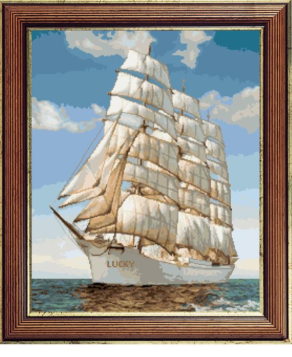 Набор для вышивания крестом Корабль Lucky, 34 см х 42 см. 410386073