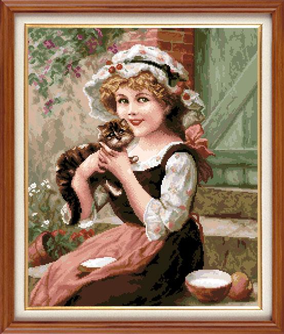 Набор для вышивания крестом Девочка с котенком, 31 см х 37 см. 805386077