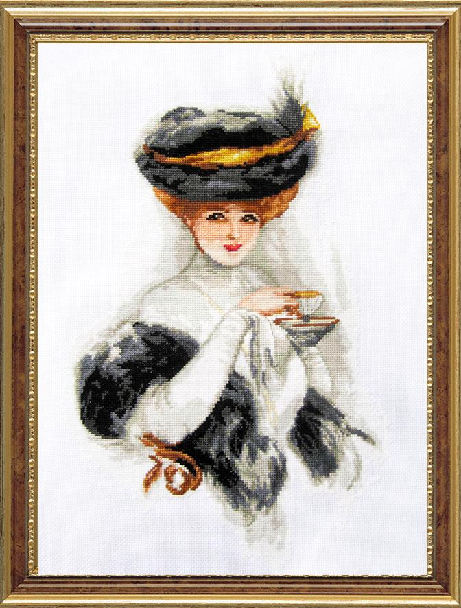 Набор для вышивания крестом Дама с чашкой чая, 28 см х 37 см. 386080 - Гобелен Классик - Гобелен Классик386080