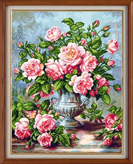 Набор для вышивания крестом Розовые розы, 31 см х 40 см. 923386083