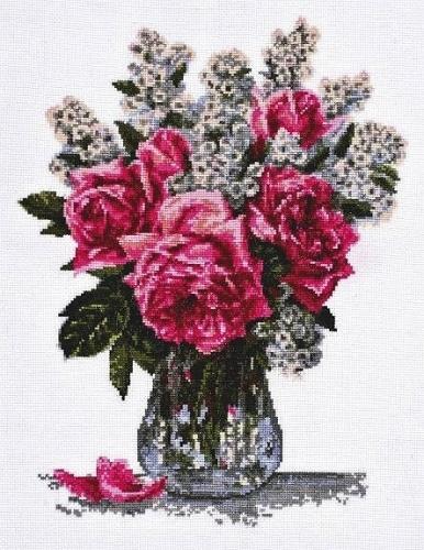 Набор для вышивания крестом Палитра Розовый букет, 25 см х 33 см546355