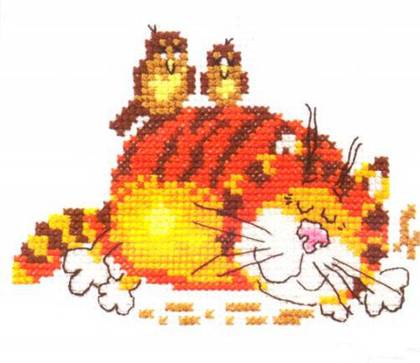 Набор для вышивания крестом Ленивый кот, 11 см х 9 см661001