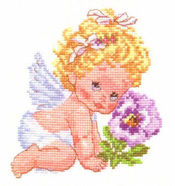 Набор для вышивания крестом Алиса Ангелок счастья, 12 см х 14 см661014