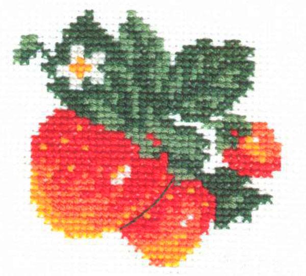 Набор для вышивания крестом Клубничка, 7 см х 7 см. 0-21661021