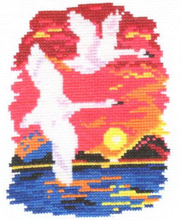 Набор для вышивания крестом Алиса Лебеди, 11 см х 14 см661028