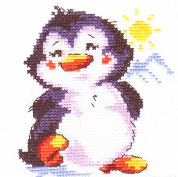 Набор для вышивания крестом Пингвиненок, 9 см х 11 см. 0-32661032