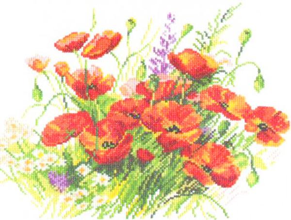 Набор для вышивания крестом Маки, 27 см х 22 см. 661046661046Набор для вышивания Маки поможет вам создать свой личный шедевр - красивую картину, вышитую крестом в технике счетный крест. Работа, выполненная своими руками, станет отличным подарком для друзей и близких! Набор содержит: - белая канва Aida (хлопок), - нитки мулине - 19 цветов (хлопок), - игла, - схема для вышивания, - инструкция на русском языке.