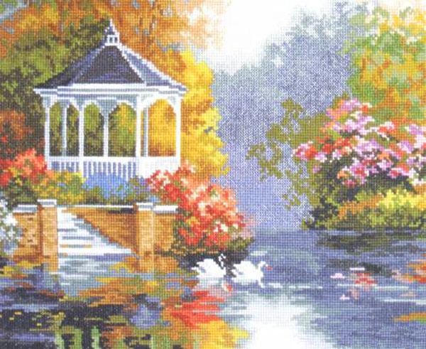 Набор для вышивания крестом Лебединый рай, 33 см х 25 см. 3-03661052
