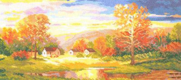 Набор для вышивания крестом Золотая осень, 41 x 21 см661054