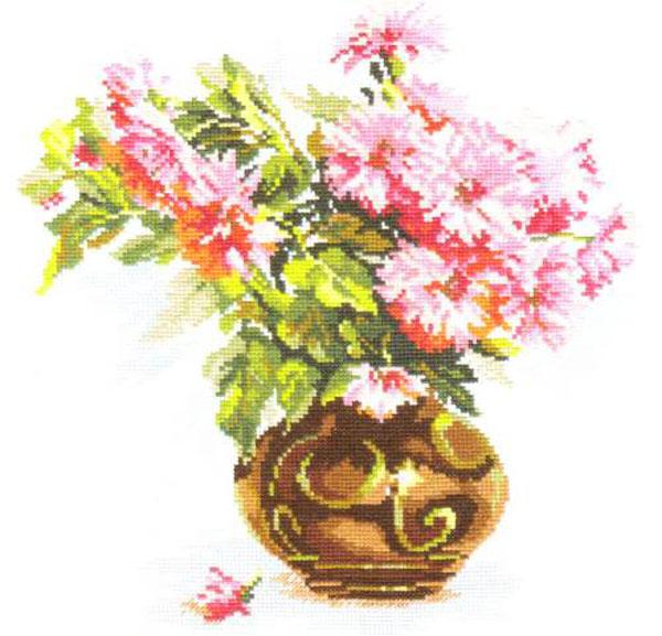 Набор для вышивания крестом Цветущий сад. Хризантемки, 26 х 29 см 661082661082Набор для вышивания Цветущий сад. Хризантемки поможет вам создать свой личный шедевр - красивую картину, вышитую крестом в технике счетный крест. Работа, выполненная своими руками, станет отличным подарком для друзей и близких! Набор содержит: - белая канва Aida (хлопок), - нитки мулине - 25 цветов (хлопок), - игла, - схема для вышивания, - инструкция на русском языке.