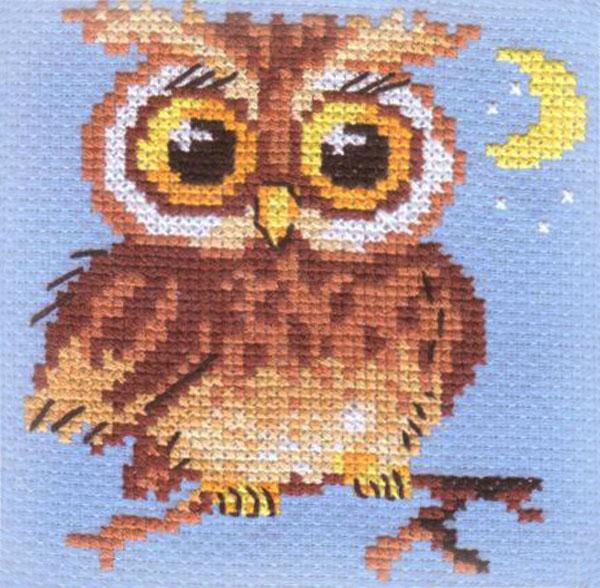 Набор для вышивания крестом Алиса Совенок, 10 см х 10 см661089