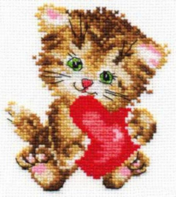 Набор для вышивания крестом Любимая киска, 10 х 11 см 661108661108Набор для вышивания Любимая киска поможет вам создать свой личный шедевр - красивую картину, вышитую крестом в технике счетный крест. Работа, выполненная своими руками, станет отличным подарком для друзей и близких! Набор содержит: - белая канва Aida 14 (хлопок), - нитки мулине - 10 цветов (хлопок), - игла, - цветная схема для вышивания, - инструкция на русском языке.