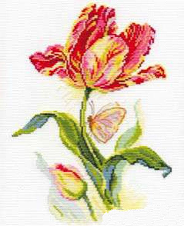 Набор для вышивания крестом Тюльпан и бабочка, 19 см х 25 см661117Набор для вышивания крестом Тюльпан и бабочка поможет создать красивую вышитую картину. Рисунок-вышивка, выполненный на канве, выглядит стильно и модно. Вышивание отвлечет вас от повседневных забот и превратится в увлекательное занятие! Работа, сделанная своими руками, не только украсит интерьер дома, придав ему уют и оригинальность, но и будет отличным подарком для друзей и близких! Набор для вышивания содержит все необходимые материалы для вышивки на канве в технике счетный крест. В состав набора входит: - канва Аида Gamma белого цвета (100% хлопок), - мулине Gamma (20 цветов), - игла, - символьная схема, - подробная инструкция на русском языке.