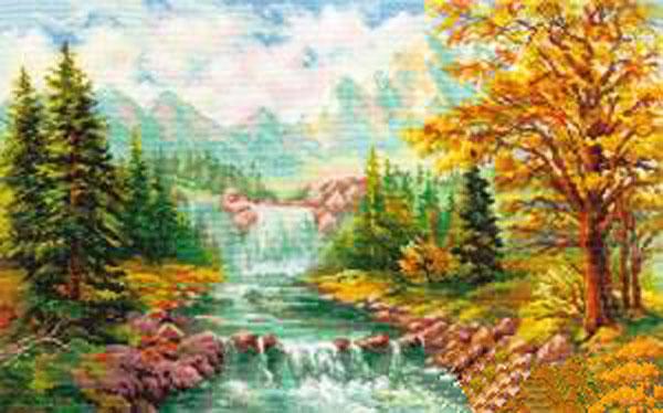 Набор для вышивания крестом Горный водопад, 41 см х 26 см. 661129661129Набор для вышивания Горный водопад поможет вам создать свой личный шедевр - красивую картину, вышитую крестом в технике счетный крест. Работа, выполненная своими руками, станет отличным подарком для друзей и близких! Набор содержит: - белая канва Aida (хлопок), - нитки мулине - 40 цветов (хлопок), - игла, - схема для вышивания, - инструкция на русском языке.