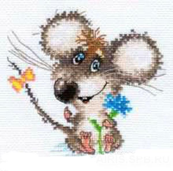 Набор для вышивания крестом Влюбленный мышонок, 13 см х 12 см. 661138661138Набор для вышивания Влюбленный мышонок поможет вам создать свой личный шедевр - красивую картину, вышитую крестом в технике счетный крест. Работа, выполненная своими руками, станет отличным подарком для друзей и близких! Набор содержит: - белая канва Aida 14 (хлопок), - нитки мулине - 16 цветов (хлопок), - игла, - цветная схема для вышивания, - инструкция на русском языке.