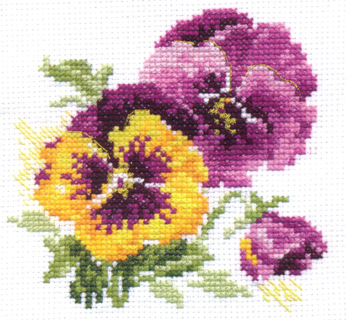 Набор для вышивания крестом Анютины глазки, 11 х 10 см661149