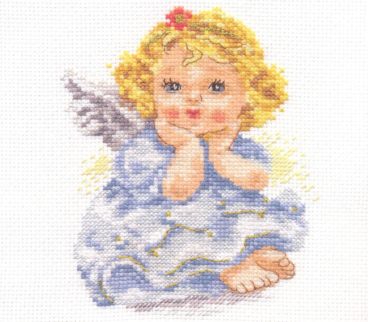 Набор для вышивания крестом Ангелок мечты, 11 х 14 см 661171661171Набор для вышивания Ангелок мечты поможет вам создать свой личный шедевр - красивую картину, вышитую крестом в технике счетный крест. Работа, выполненная своими руками, станет отличным подарком для друзей и близких! Набор содержит: - белая канва Aida 14 (хлопок), - нитки мулине - 19 цветов (хлопок), - игла, - цветная схема для вышивания, - инструкция на русском языке.