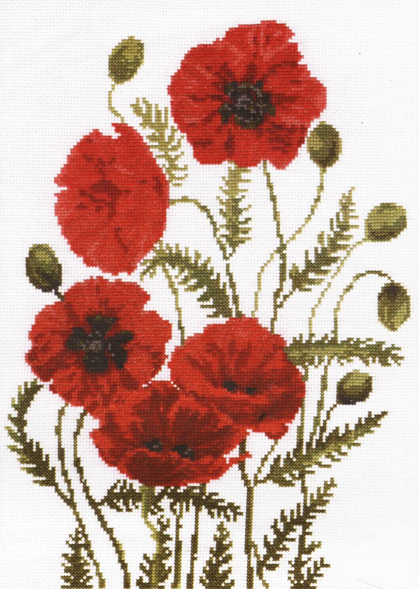 Набор для вышивания крестом Палитра Луговые маки, 24 х 33 см690021