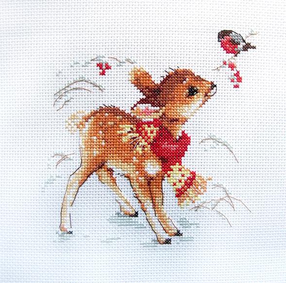 Набор для вышивания крестом Алиса Олененок, 14 х 14 см690057