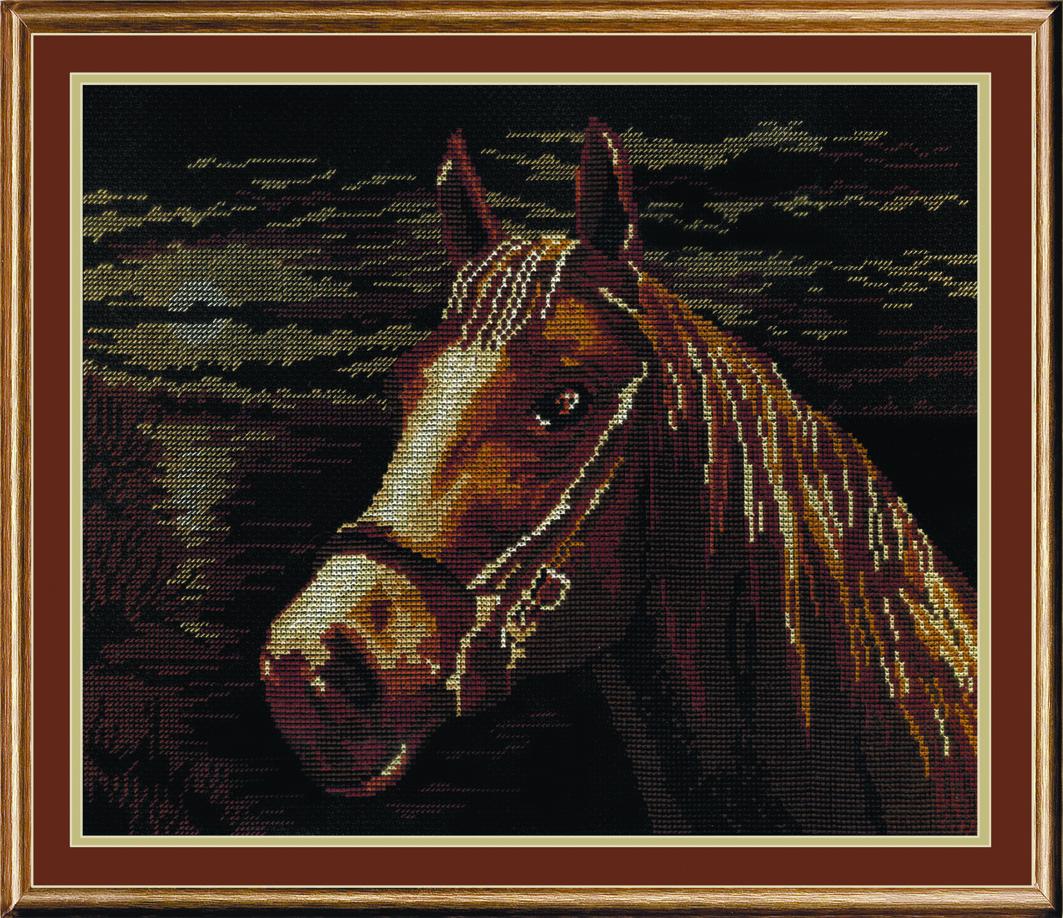 Набор для вышивания крестом М.П.Студия Лошадь, 25 см х 33 см. НВ-199692612