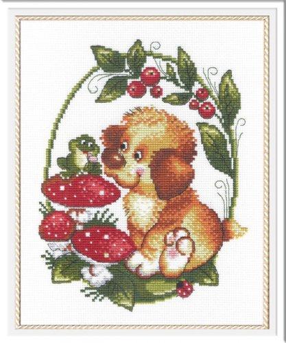 Набор для вышивания крестом М.П.Студия Собачка с лягушкой, 25 х 20 см НВ-215692617